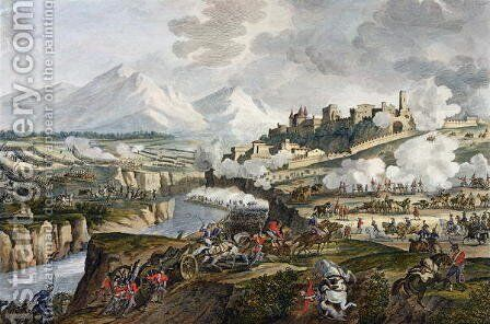 The Battle of Roveredo, 18 Fructidor, Year 4 September 1796 engraved by Jean Duplessi-Bertaux 1747-1819 by Carle Vernet - Reproduction Oil Painting
