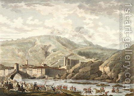 The Battle of Millesimo, 25 Germinal, Year 4 April 1796 engraved by Jean Duplessi-Bertaux 1747-1819 by Carle Vernet - Reproduction Oil Painting