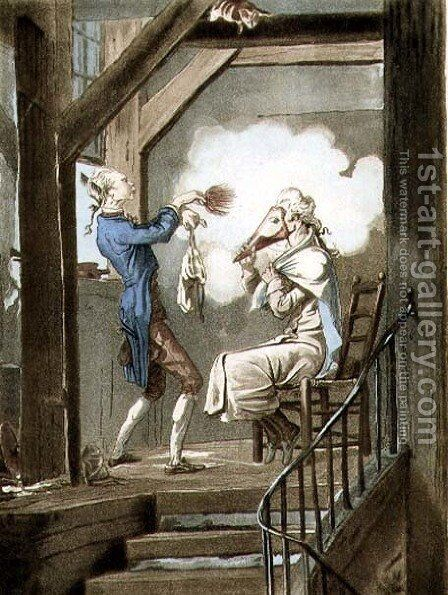 The Toilet of an Attorneys Clerk, engraved by Philibert Louis Debucourt 1755-1832 by Carle Vernet - Reproduction Oil Painting