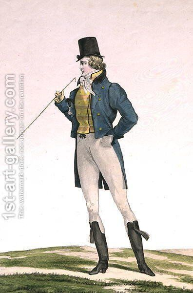 A Dandy in a Robinson hat, with childlike curls, knitted trousers, and riding boots, plate 5 in the Incroyable et merveilleuse series of fashion plates, engraved by Georges Jacques Gatine 1773-1831 published 1797 in Paris by Carle Vernet - Reproduction Oil Painting