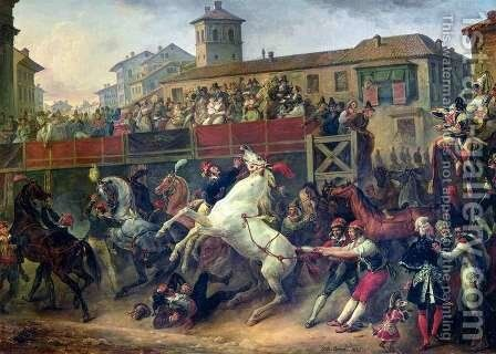 Scene of an unmounted horse race in Rome by Carle Vernet - Reproduction Oil Painting