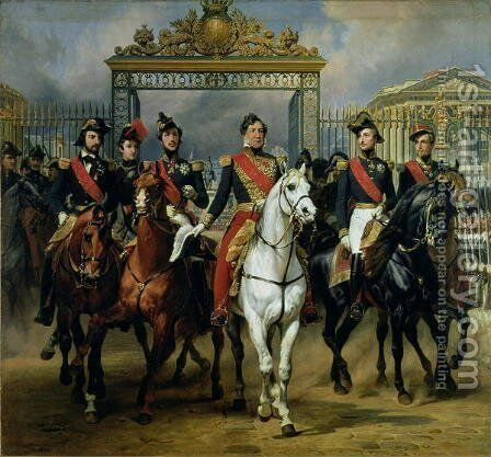 King Louis-Philippe 1773-1850 of France and his sons leaving the Chateau of Versailles on horseback, 1846 by Carle Vernet - Reproduction Oil Painting