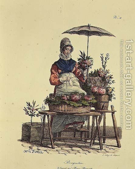 Flower Girl, 1820-22 by Carle Vernet - Reproduction Oil Painting