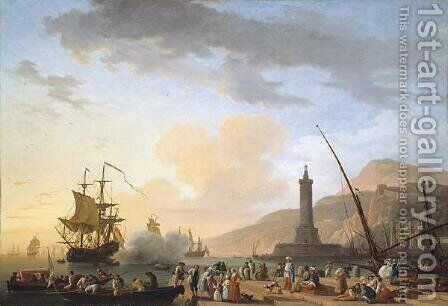 A Seaport at Sunset, 1749 by Claude-joseph Vernet - Reproduction Oil Painting