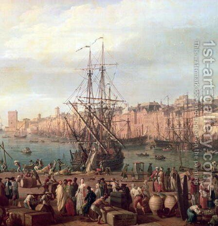 Morning View of the Inner Port of Marseille and the Pavilion of the Horloge du Parc, 1754 by Claude-joseph Vernet - Reproduction Oil Painting