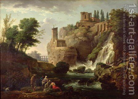 The Falls of Tivoli by Claude-joseph Vernet - Reproduction Oil Painting