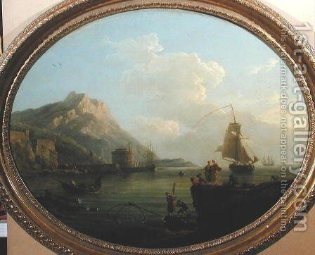 Seascape with Figures, 1767 by Claude-joseph Vernet - Reproduction Oil Painting