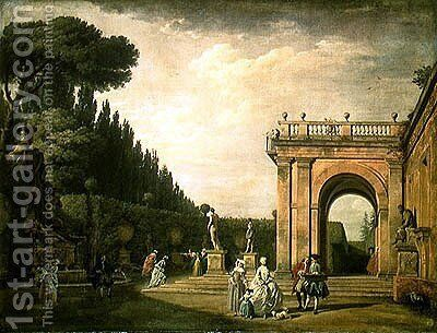 The Gardens of the Villa Ludovisi, Rome, 1749 by Claude-joseph Vernet - Reproduction Oil Painting