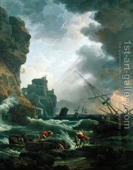 The Storm, 1777 by Claude-joseph Vernet - Reproduction Oil Painting