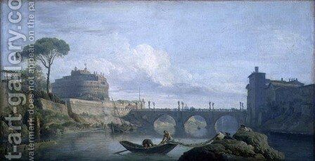 View of the Bridge and Chateau of St. Angelo, Rome, c.1748 by Claude-joseph Vernet - Reproduction Oil Painting