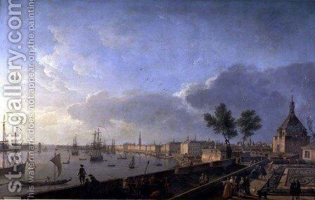 Second view of the port of Bordeaux taken from the Chateau Trompette, 1759 by Claude-joseph Vernet - Reproduction Oil Painting