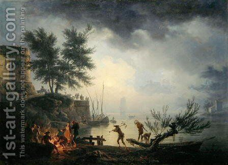 Sunrise, A Coastal Scene with Figures around a Fire, 1760 by Claude-joseph Vernet - Reproduction Oil Painting