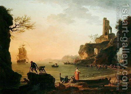 Sunset, Fishermen Pulling in Their Nets, 1760 by Claude-joseph Vernet - Reproduction Oil Painting