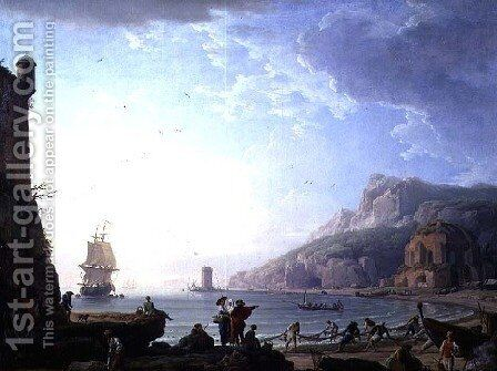 Morning scene in a bay, 1752 by Claude-joseph Vernet - Reproduction Oil Painting