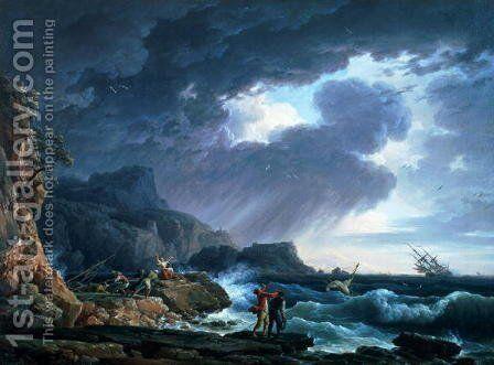 A Seastorm, 1752 by Claude-joseph Vernet - Reproduction Oil Painting