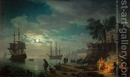 Night A Port in the Moonlight, 1748 by Claude-joseph Vernet - Reproduction Oil Painting