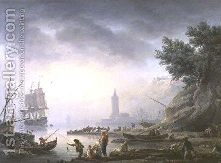 Seaport at Dawn, 1751 by Claude-joseph Vernet - Reproduction Oil Painting