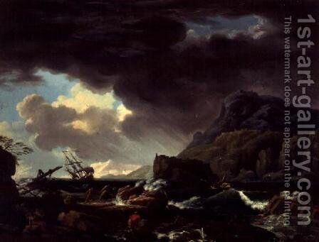 A Mediterranean coastal scene with ships foundering and castaways by Claude-joseph Vernet - Reproduction Oil Painting
