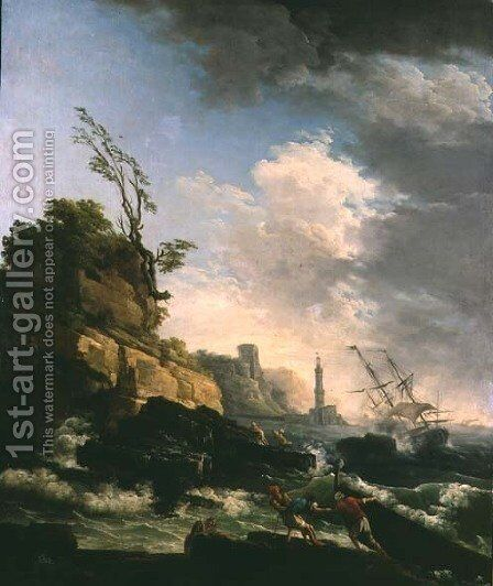 Storm on a Rocky Coast with shipwreck by Claude-joseph Vernet - Reproduction Oil Painting
