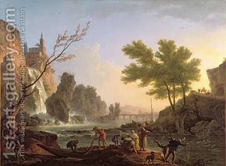 Fisherman in Landscape with cascade and bridge by Claude-joseph Vernet - Reproduction Oil Painting