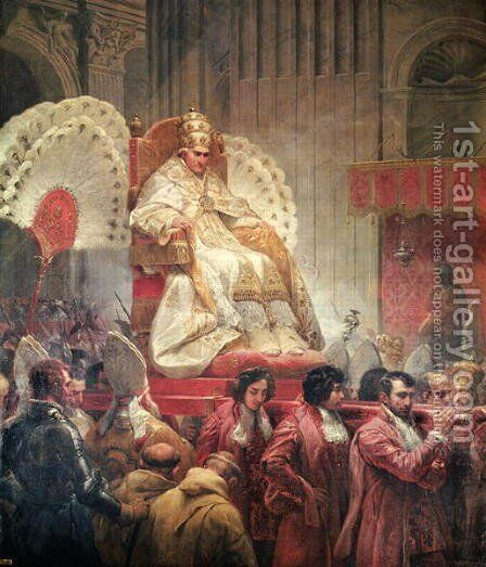 Pope Pius VIII 1761-1830 in St. Peters on the Sedia Gestatoria, 1829 by Horace Vernet - Reproduction Oil Painting