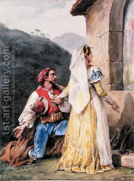 Italian peasants before a shrine, 1829 by Horace Vernet - Reproduction Oil Painting