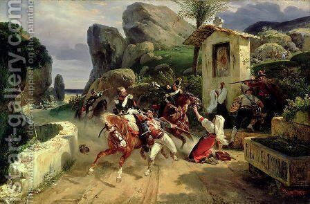 Italian Brigands Surprised by Papal Troops, 1831 by Horace Vernet - Reproduction Oil Painting