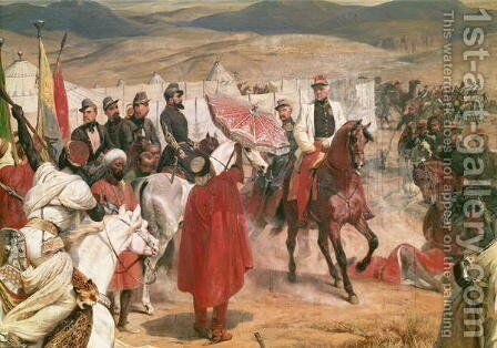 Marshal Thomas Bugeaud 1784-1849 and Colonel Joseph Vantini Yousouf 1808-66 During the Conquest of Algeria, 1846 by Horace Vernet - Reproduction Oil Painting