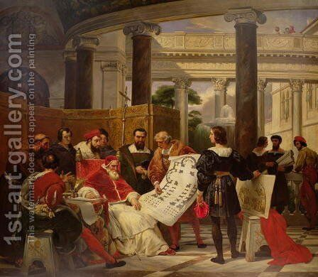 Pope Julius II ordering Bramante, Michelangelo and Raphael to construct the Vatican and St. Peters, 1827 2 by Horace Vernet - Reproduction Oil Painting