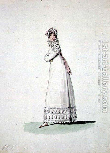 Elegant woman in an outdoor dress, illustration from Incroyables et Merveilleuses by Horace Vernet - Reproduction Oil Painting