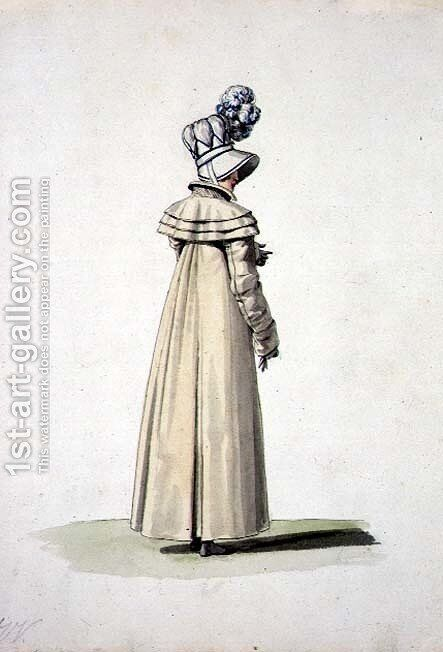Elegant woman with a bonnet, illustration from Incroyables et Merveilleuses by Horace Vernet - Reproduction Oil Painting