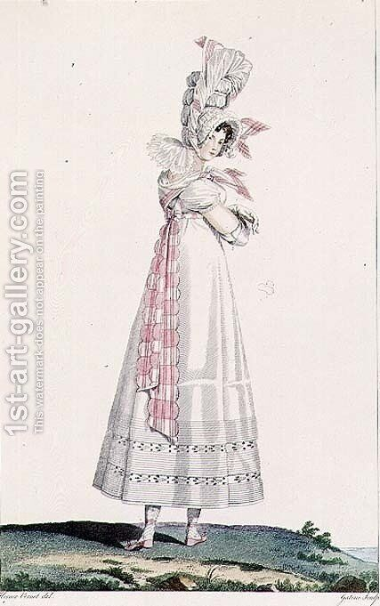 Summer Dress, fashion plate from Incroyables et Merveilleuses, engraved by Georges Jacques Gatine 1773-1831, c.1815 by Horace Vernet - Reproduction Oil Painting