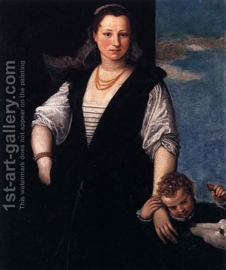 Portrait of a Woman with a Child and a Dog by Paolo Veronese (Caliari) - Reproduction Oil Painting