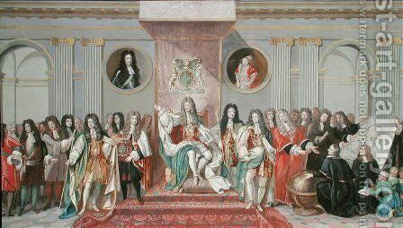 James II 1633-1701 Receiving the Mathematical Scholars of Christs Hospital by Antonio Verrio - Reproduction Oil Painting