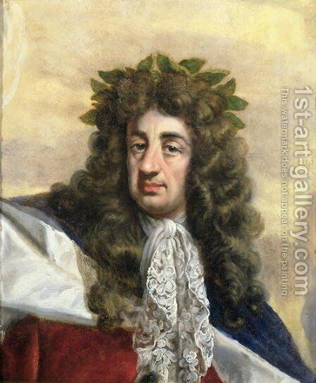 Portrait of Charles II 1630-85 Enthroned in Garter Robes by Antonio Verrio - Reproduction Oil Painting