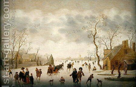 Winter landscape with skaters and colf players by Antoni Verstralen (van Stralen) - Reproduction Oil Painting