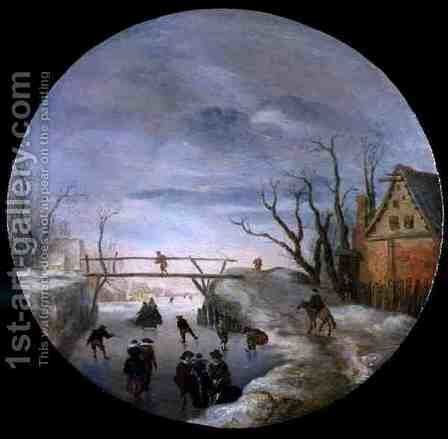 A Frozen River Landscape by Antoni Verstralen (van Stralen) - Reproduction Oil Painting