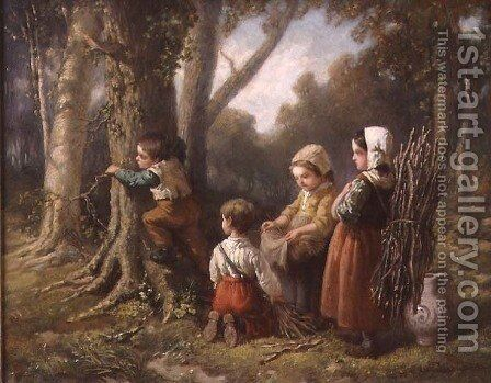 Gathering Firewood, 1855 by Elchanon Verveer - Reproduction Oil Painting