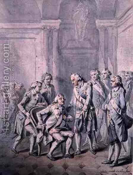 Louis XVI 1754-93 and the Duc de Richelieu during the Feast of the Holy Ghost by Antoine Vestier - Reproduction Oil Painting