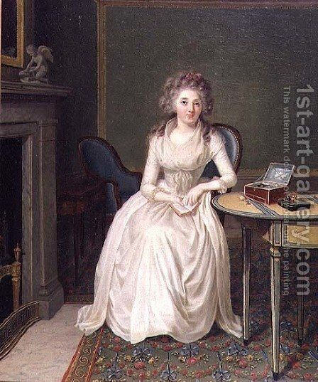 Portrait of a lady by Antoine Vestier - Reproduction Oil Painting