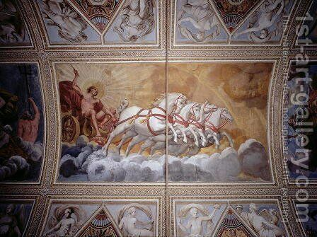 The Sun God driving his chariot across the sky, ceiling painting by Antonio Maria Viani - Reproduction Oil Painting