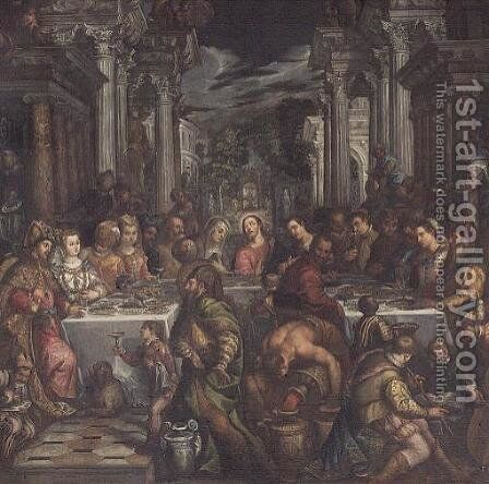 The Marriage Feast at Cana by Andrea Michieli (see Vicentino) - Reproduction Oil Painting