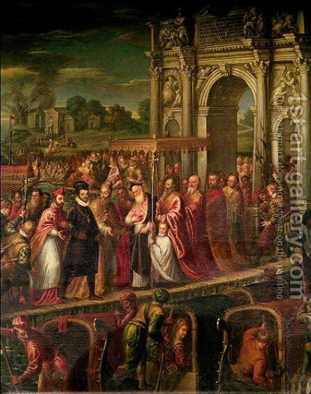 King Henri III 1551-89 of France visiting Venice in 1574, escorted by Doge Alvise Mocenigo 1570-77 and met by the Patriarch Giovanni Trevisan, from the Room of the Four Doors by Andrea Michieli (see Vicentino) - Reproduction Oil Painting