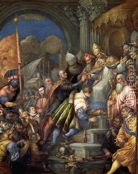 Doge Sebastiano Ziani c.1102-80 Receiving the Blessed Ring from Pope Alexander III 1105-81 by Andrea Michieli (see Vicentino) - Reproduction Oil Painting