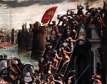 The Crusaders Conquering the City of Zara in 1202 2 by Andrea Michieli (see Vicentino) - Reproduction Oil Painting