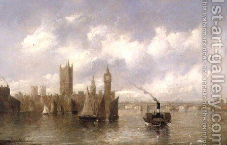 The Houses of Parliament by Alfred Vickers - Reproduction Oil Painting
