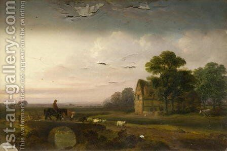 Landscape with Sheep and Horesemen by Alfred Vickers - Reproduction Oil Painting