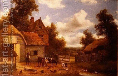 Farmyard Scene by Charles Vickers - Reproduction Oil Painting