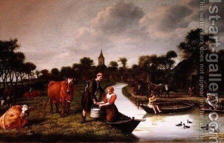 River Landscape with a couple carrying a milk churn by Jan Victors - Reproduction Oil Painting