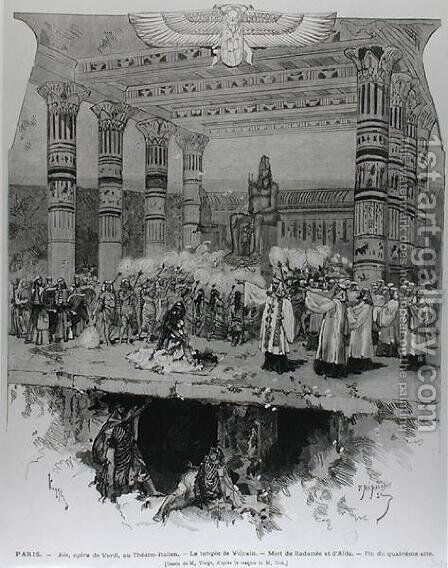 The Temple of Vulcan with the Death of Radames and Aida, scene from Act IV of Aida by Guiseppe Verdi 1813-1901 engraved by Fortune Louis Meaulle, 1871 by Daniel Urrabieta Vierge - Reproduction Oil Painting